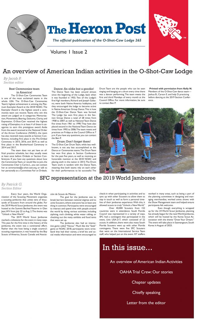 The Heron Post Vol 1 Issue 2 - January 2020 Front Page